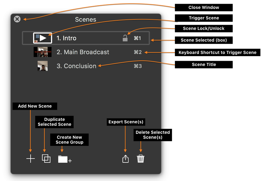 Figure: The Scenes Window with tools labeled.